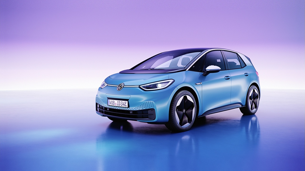 Image Volkswagen ID.3, all-electric hatchback Light Blue automobile Colored background Cars auto