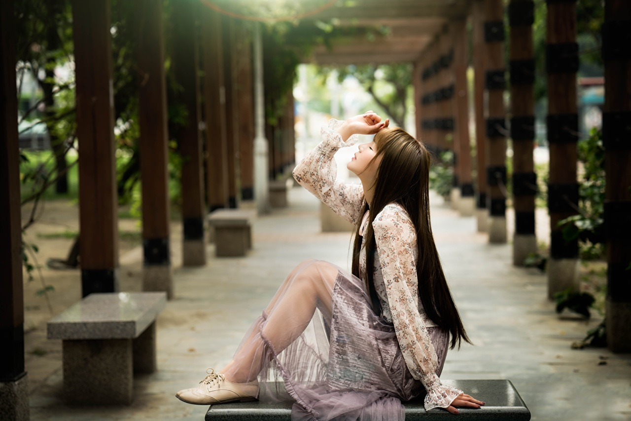Pictures Brown haired Bokeh young woman Legs Asian Side Hands Sitting blurred background Girls female Asiatic sit