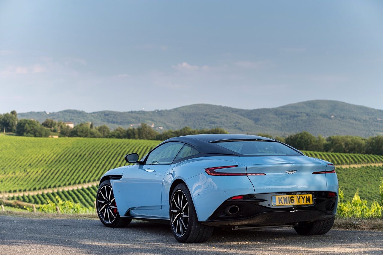 Pictures Aston Martin DB11 Light Blue Back view automobile auto Cars