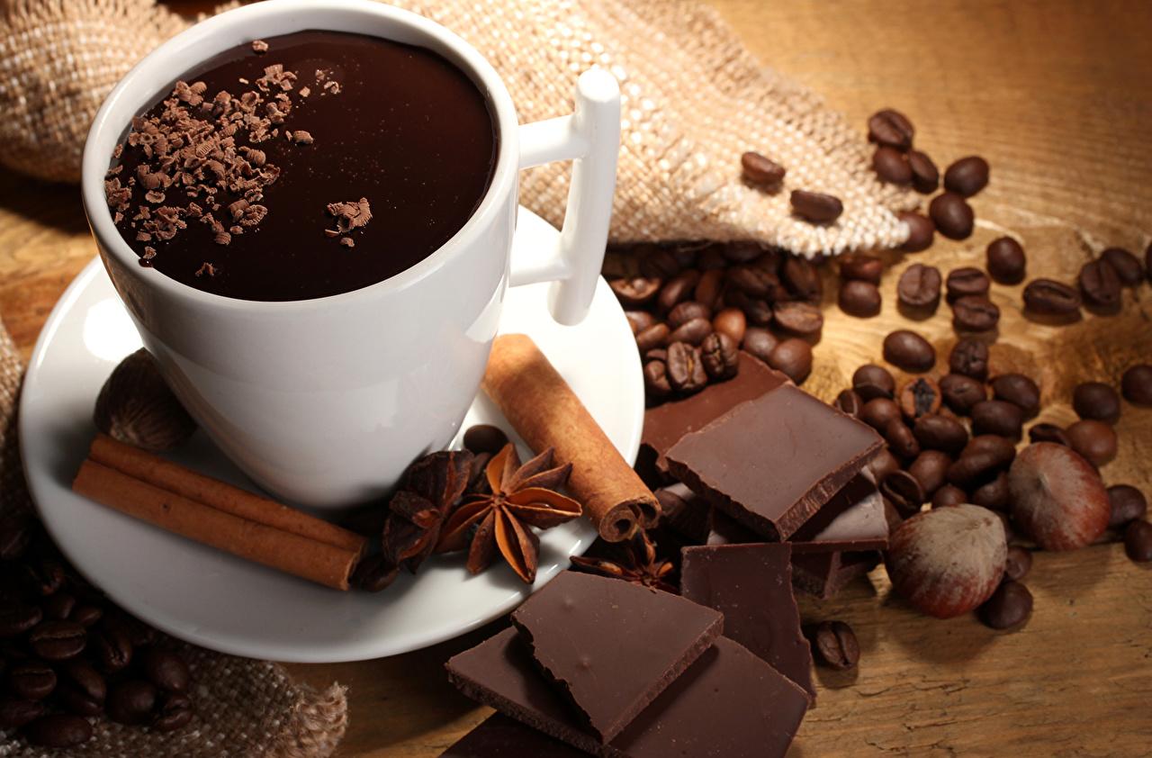 Kartinka Shokolad Kofe Zerna Korica Produkty Pitaniya Orehi