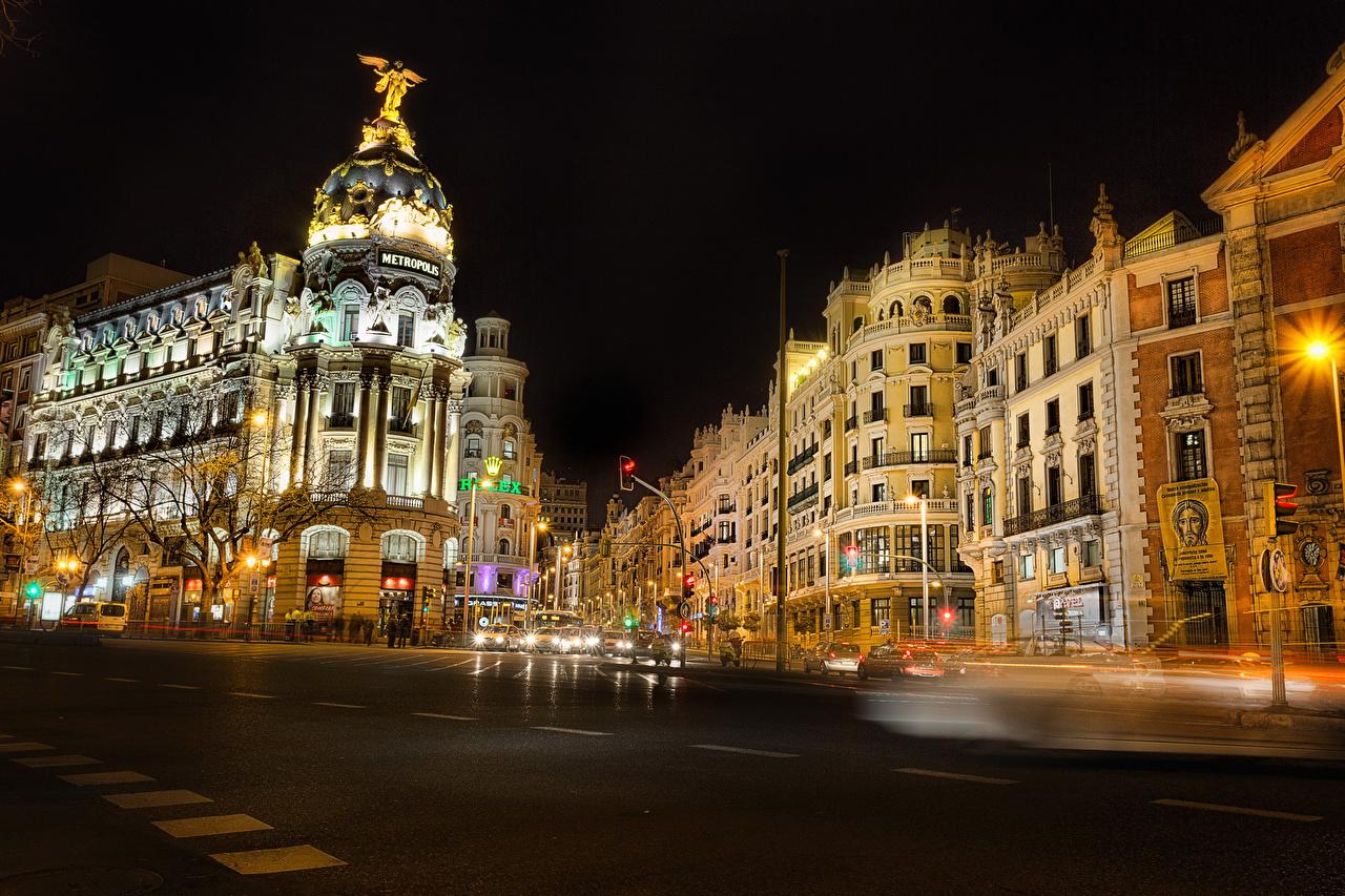 、スペイン、住宅、マドリード、ストリート、夜、建物、都市、