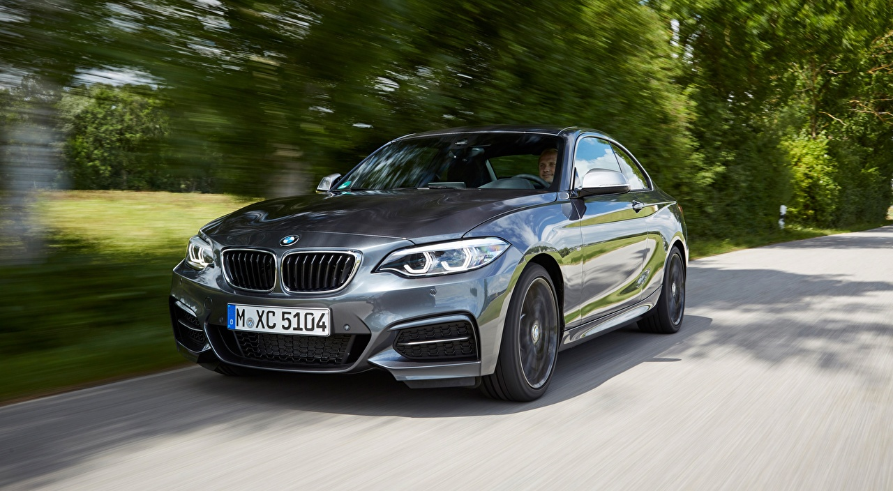 Images BMW 2 Series M240i xDrive, F22 Coupe gray at speed Cars Front Metallic Grey Motion riding moving driving auto automobile