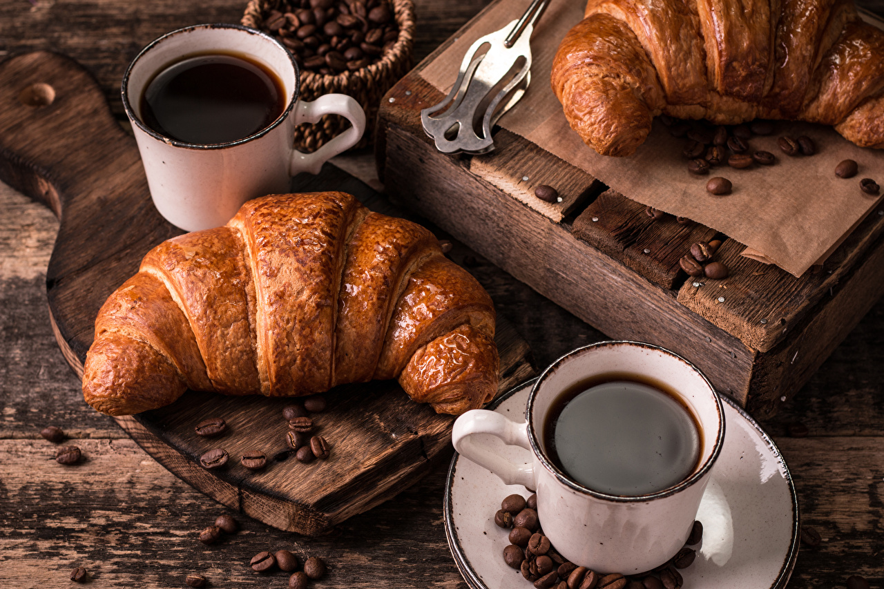 Picture Two Coffee Croissant Grain Mug Food Wood planks 2 boards