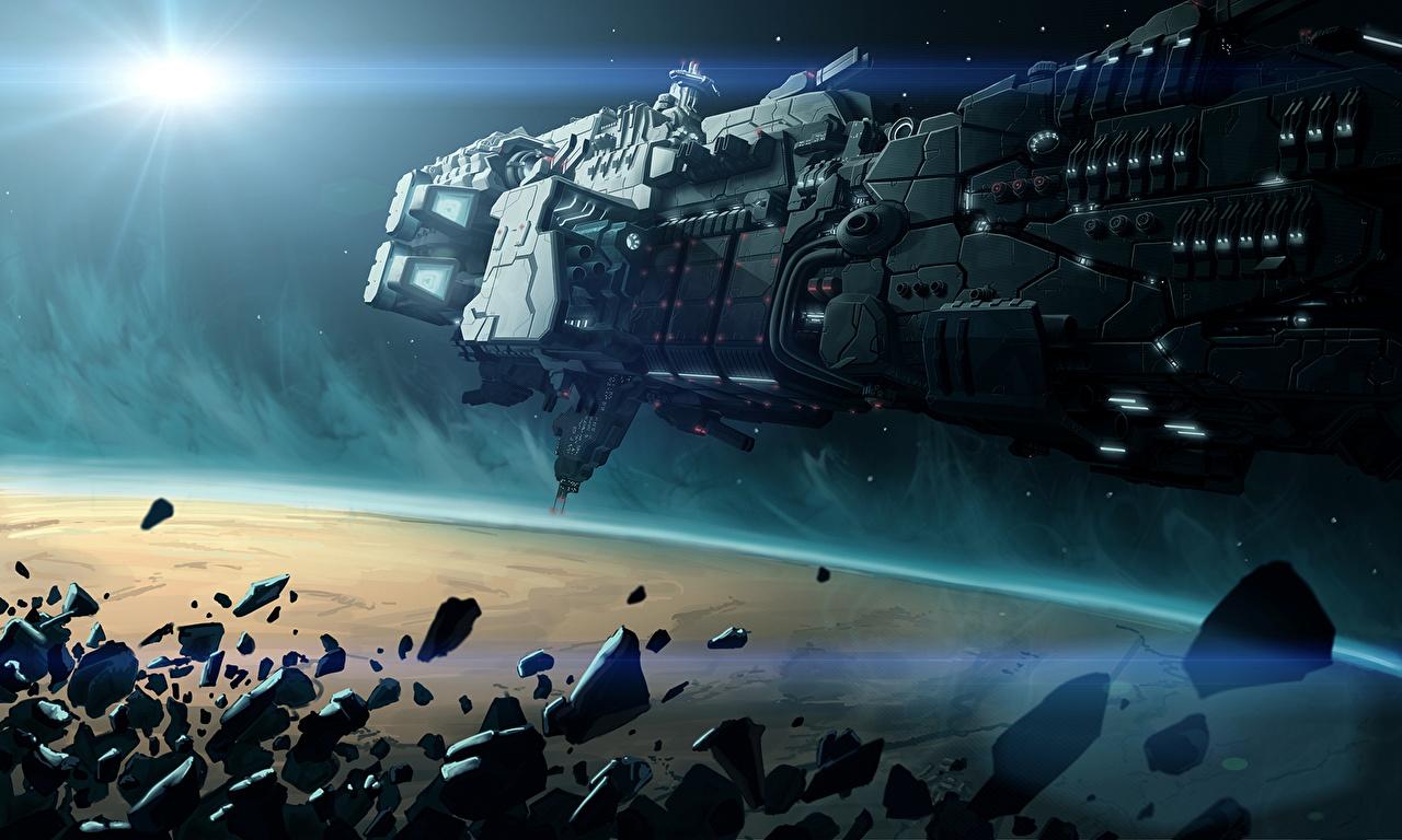 Bakgrunnsbilder til skrivebordet romskip Asteroide Fantasy Verdensrommet Et skip Teknikk Fantasy asteroider Stjerneskip det ytre rom