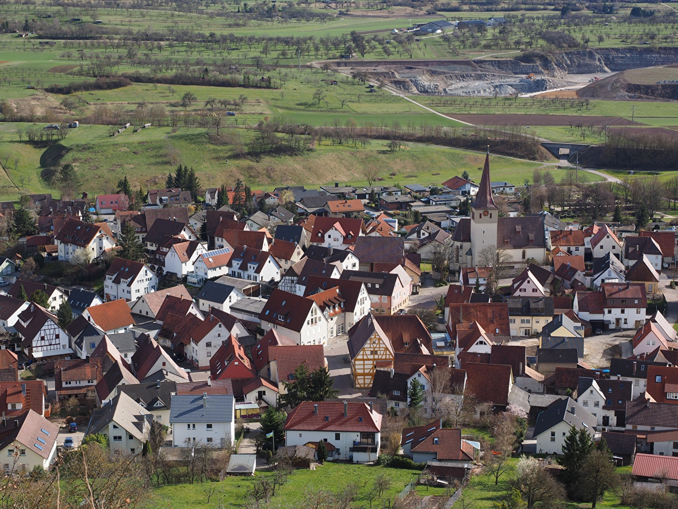 Wallpaper Germany Village From above Houses Cities Building
