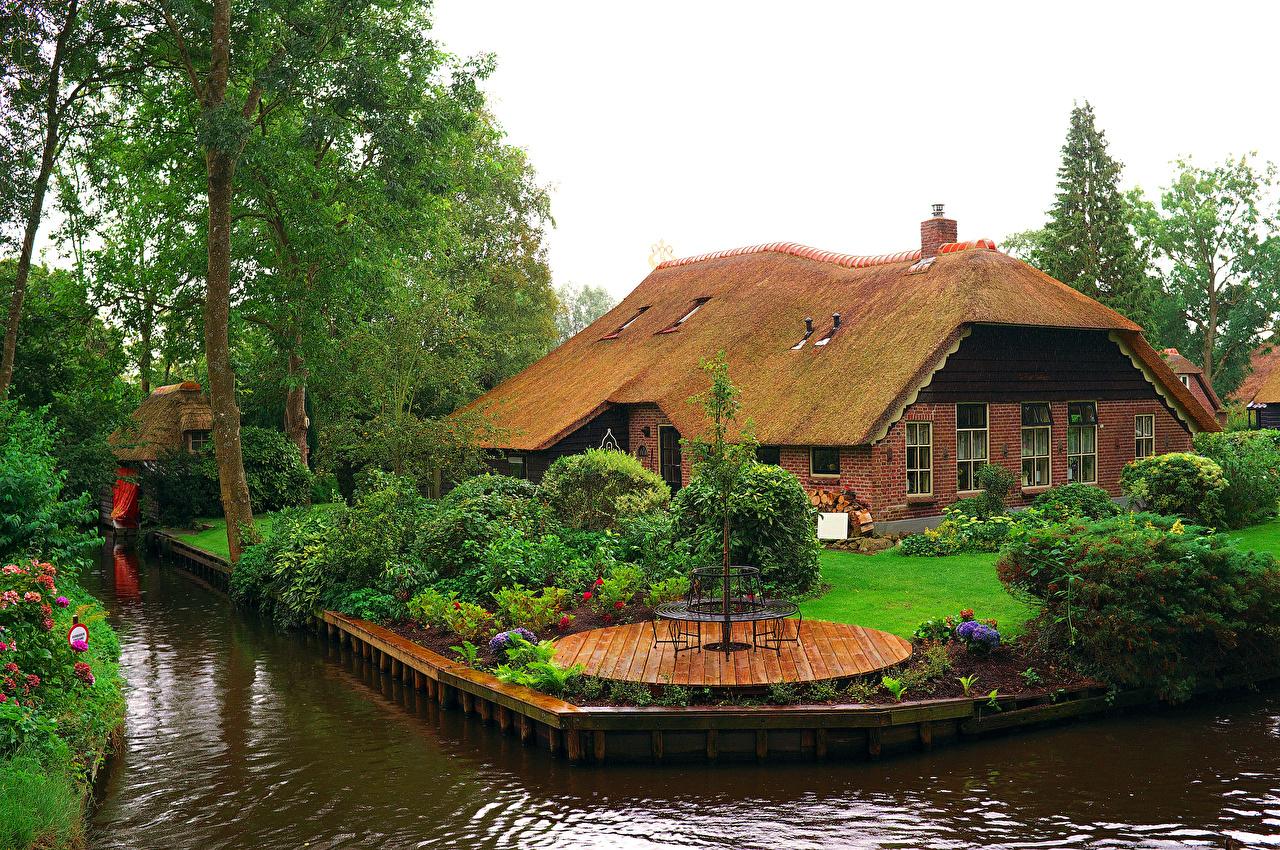 Giethoorn Karte.Desktop Wallpapers Netherlands Giethoorn Canal Bush Trees Cities