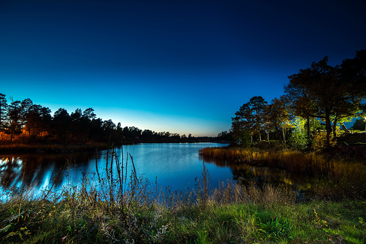 Photo Nature landscape photography river Grass Night Trees Scenery Rivers night time