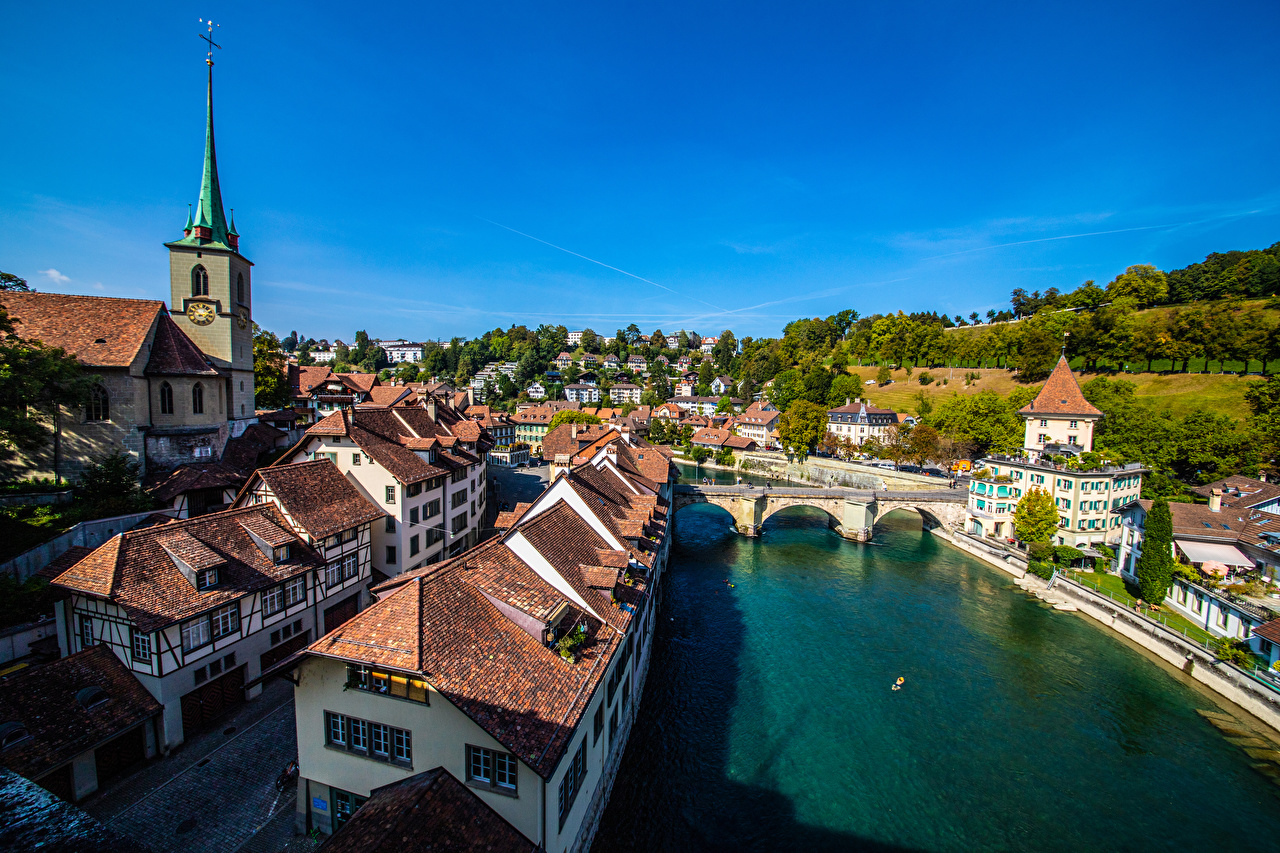 Picture Bern Switzerland bridge Rivers Houses Cities Bridges river Building