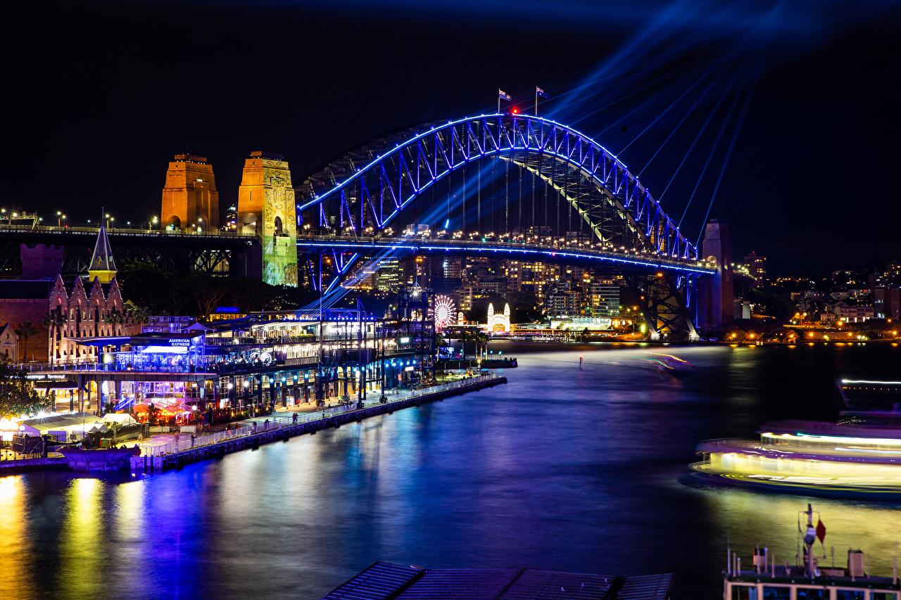 Photos Sydney Australia bridge Night Rivers Houses Cities Bridges river night time Building