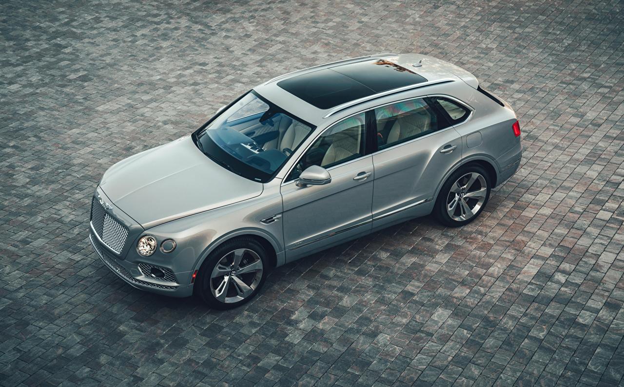 Bilder Bentley 2020 Bentayga Hybrid Hybrid Autos Grau Von oben automobil graue graues auto Autos