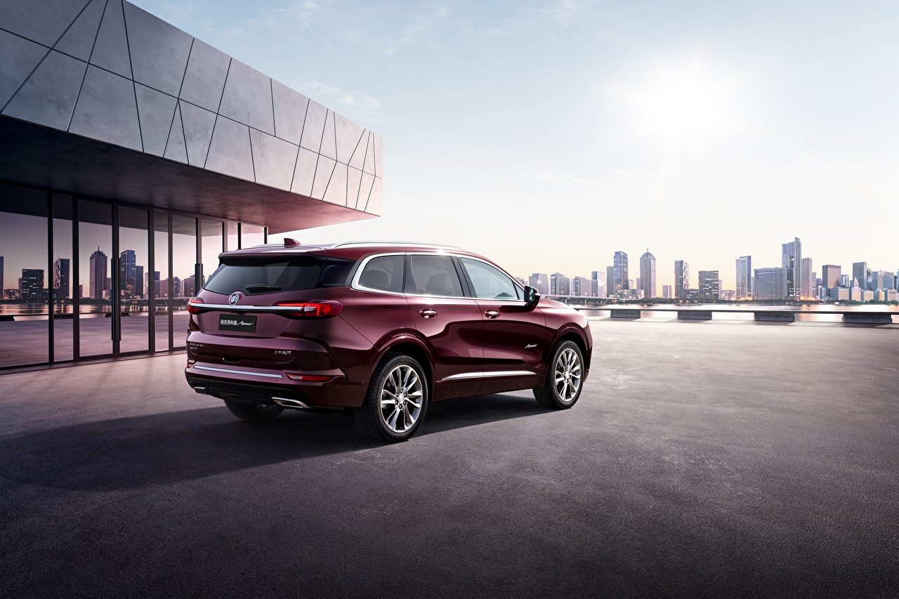 Fotos von Buick Enclave 2019 dunkelrote automobil Bordeauxrot burgunder Farbe auto Autos