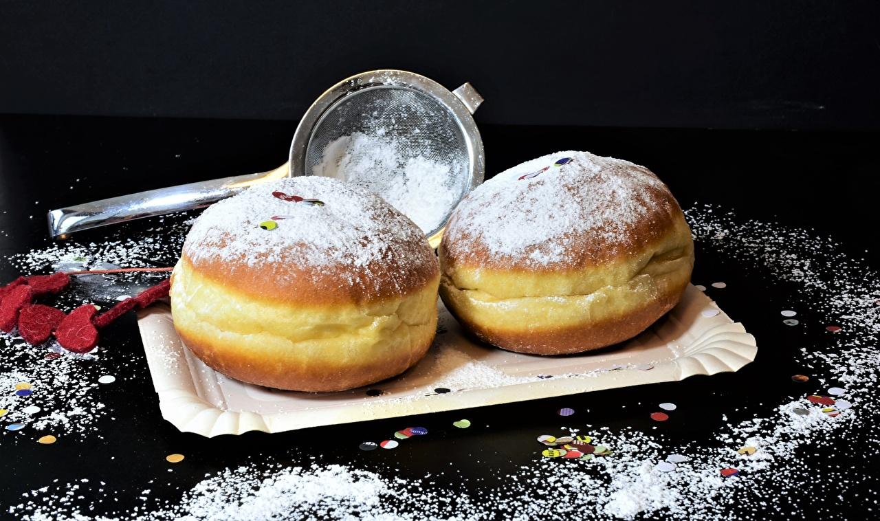 Photos Donuts Powdered sugar Food baking Doughnut Pastry