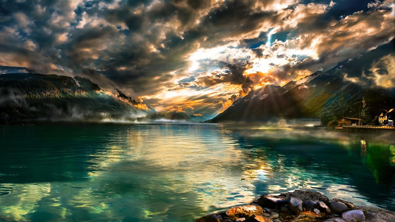 壁紙 湖 山 スイス 風景写真 Brienzersee 雲 自然