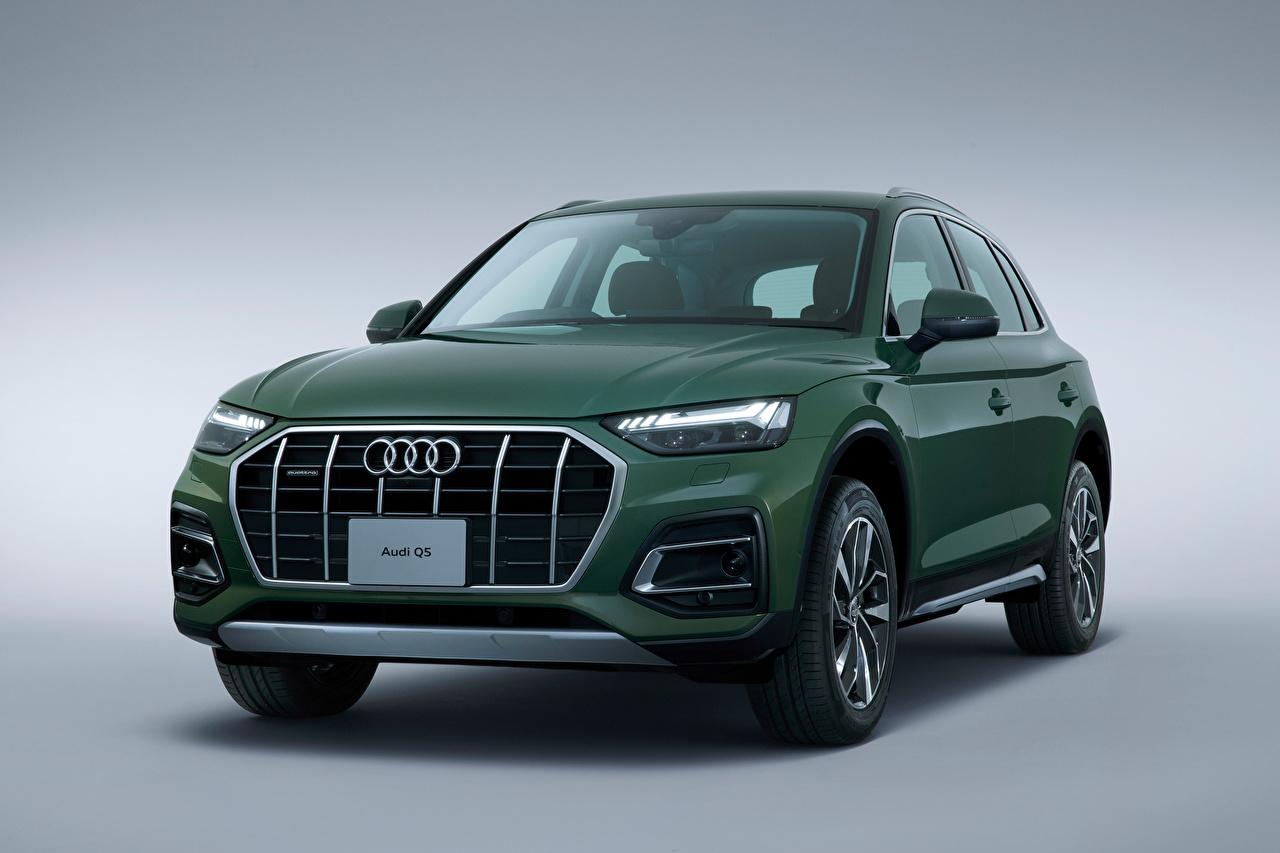 ,奥迪,Q5 40 TDI quattro advanced, JP-spec, 2021,跨界休旅車,綠色,金屬漆,灰色背景,汽车,