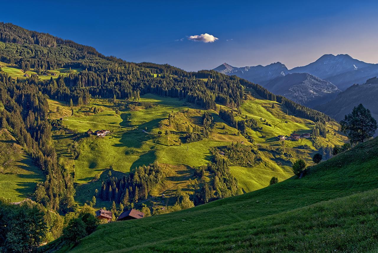 壁紙 オーストリア 山 森林 草原 住宅 風景写真 Thalgau