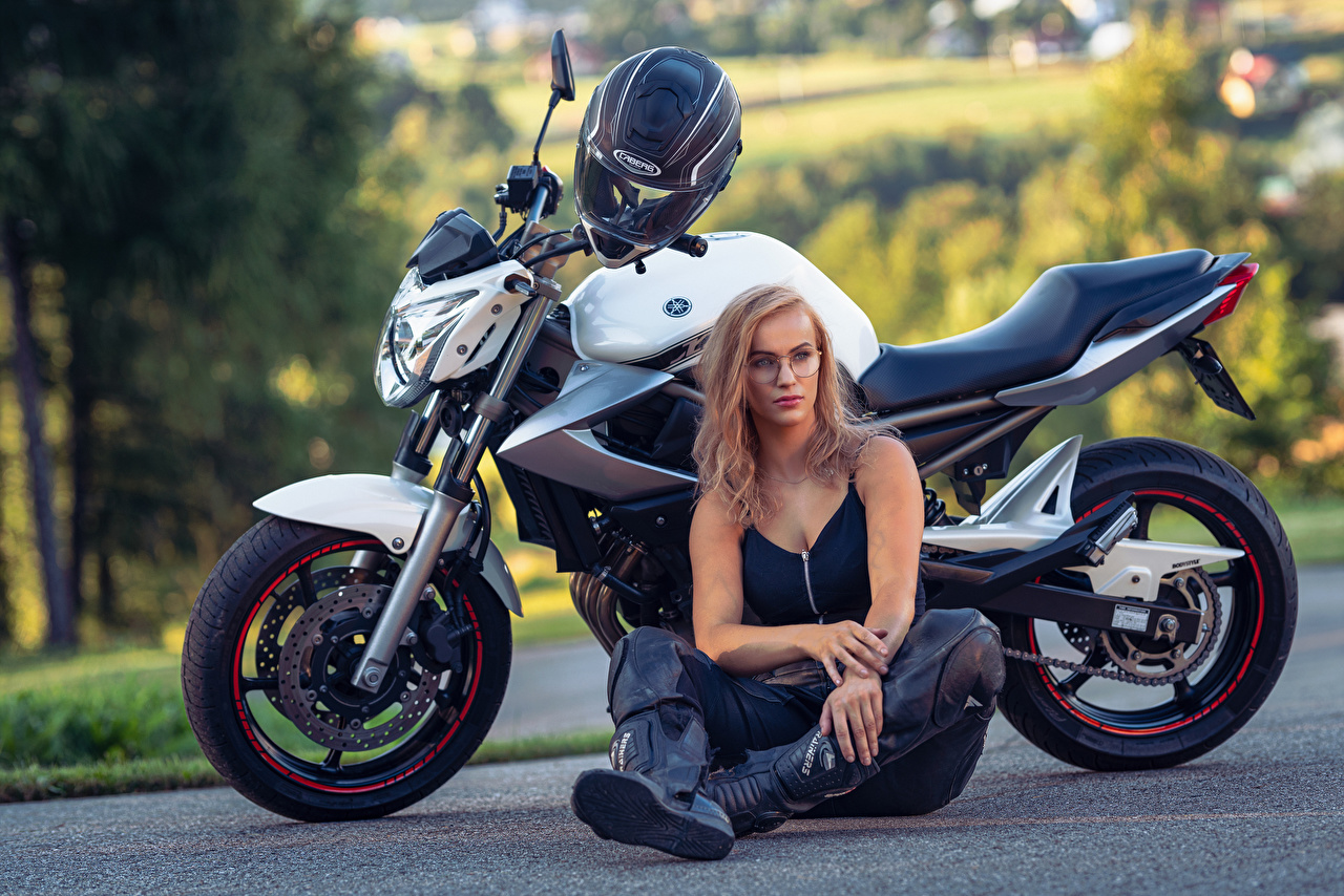 Pictures Blonde girl Helmet Magdalena female Motorcycles Sitting Girls motorcycle young woman sit