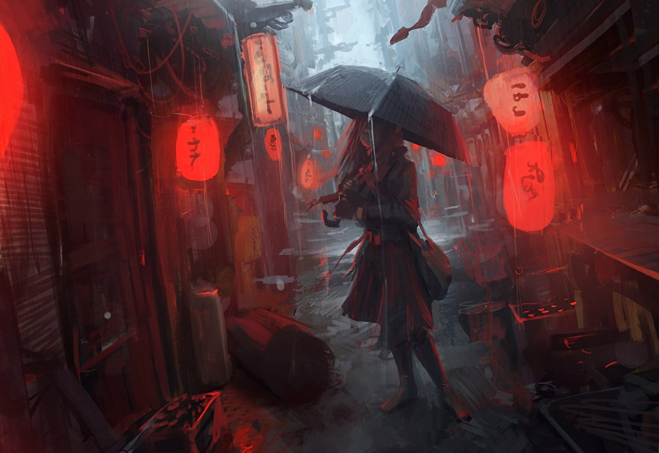Images Anime Girls Rain Street Umbrella female young woman parasol
