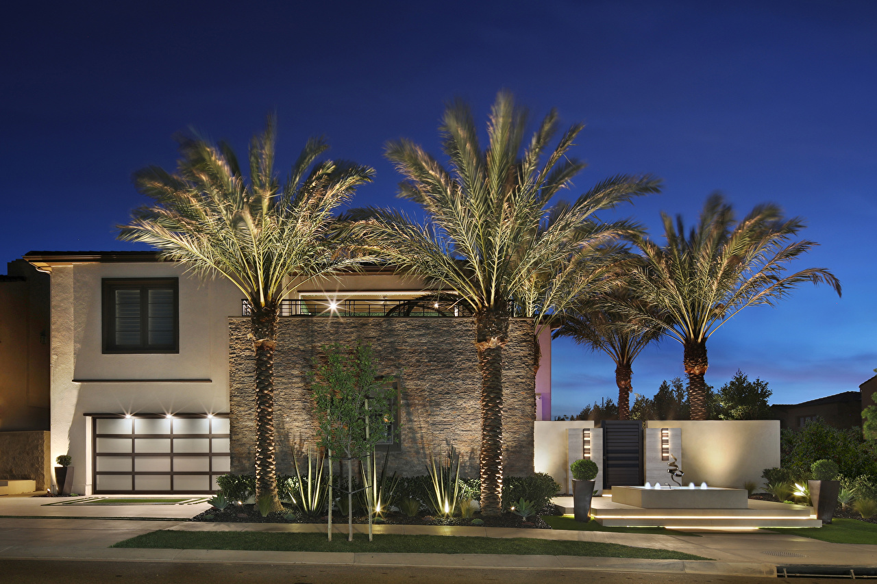 Photo California USA Irvine Palms Mansion night time Cities palm trees Night