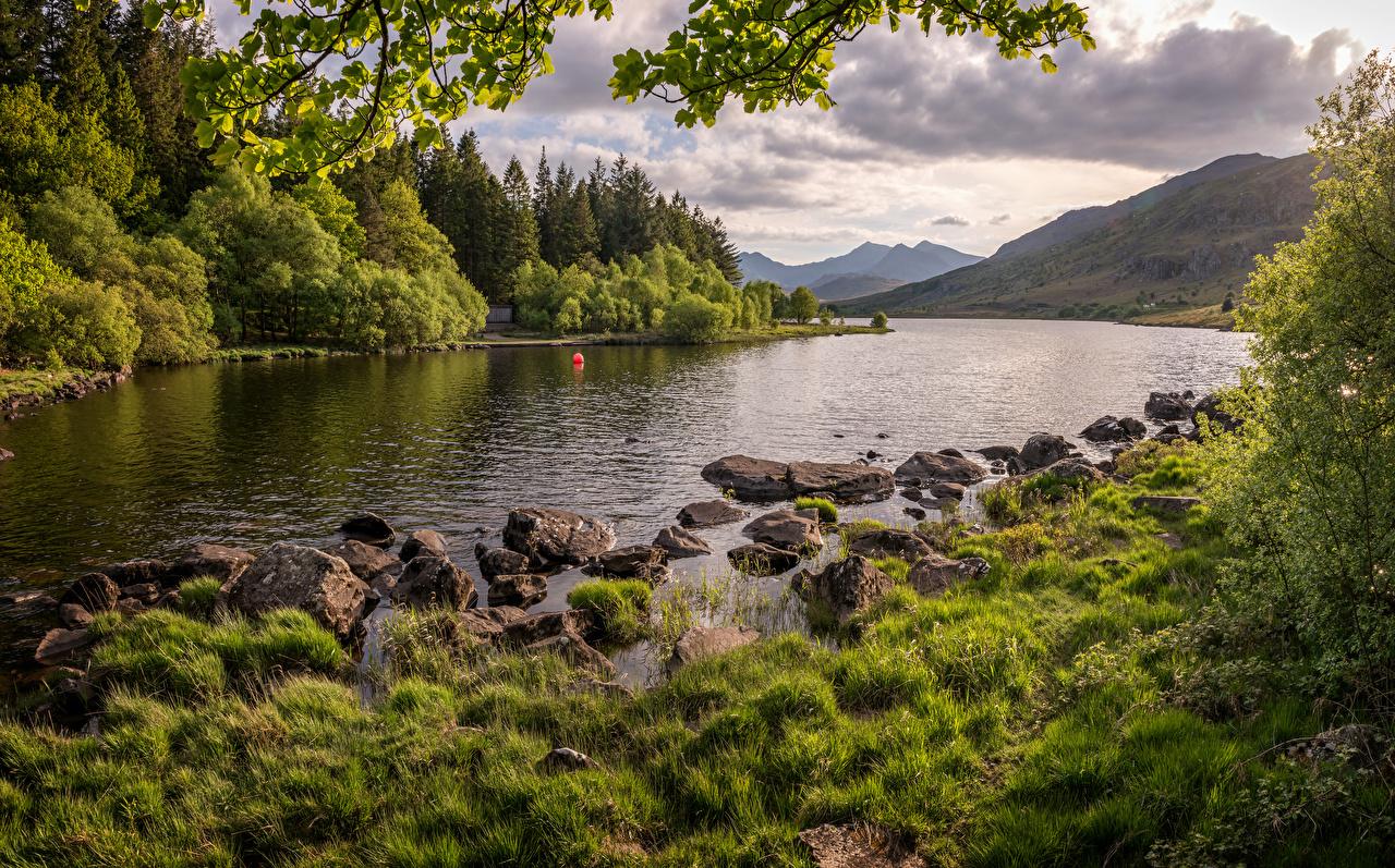 Photo Wales United Kingdom Snowdonia Nature Mountains river stone mountain Rivers Stones