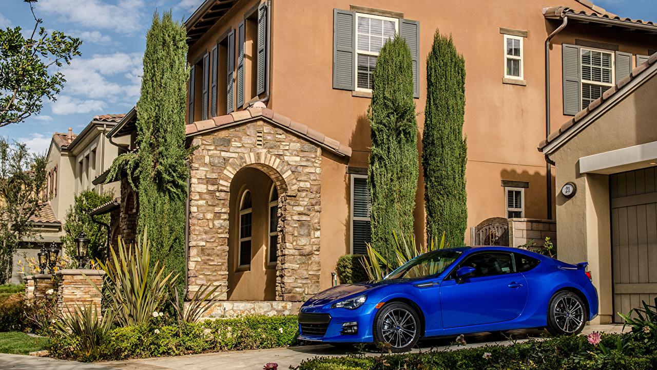 Desktop Wallpapers Subaru brz Blue Side Cars Building auto automobile Houses