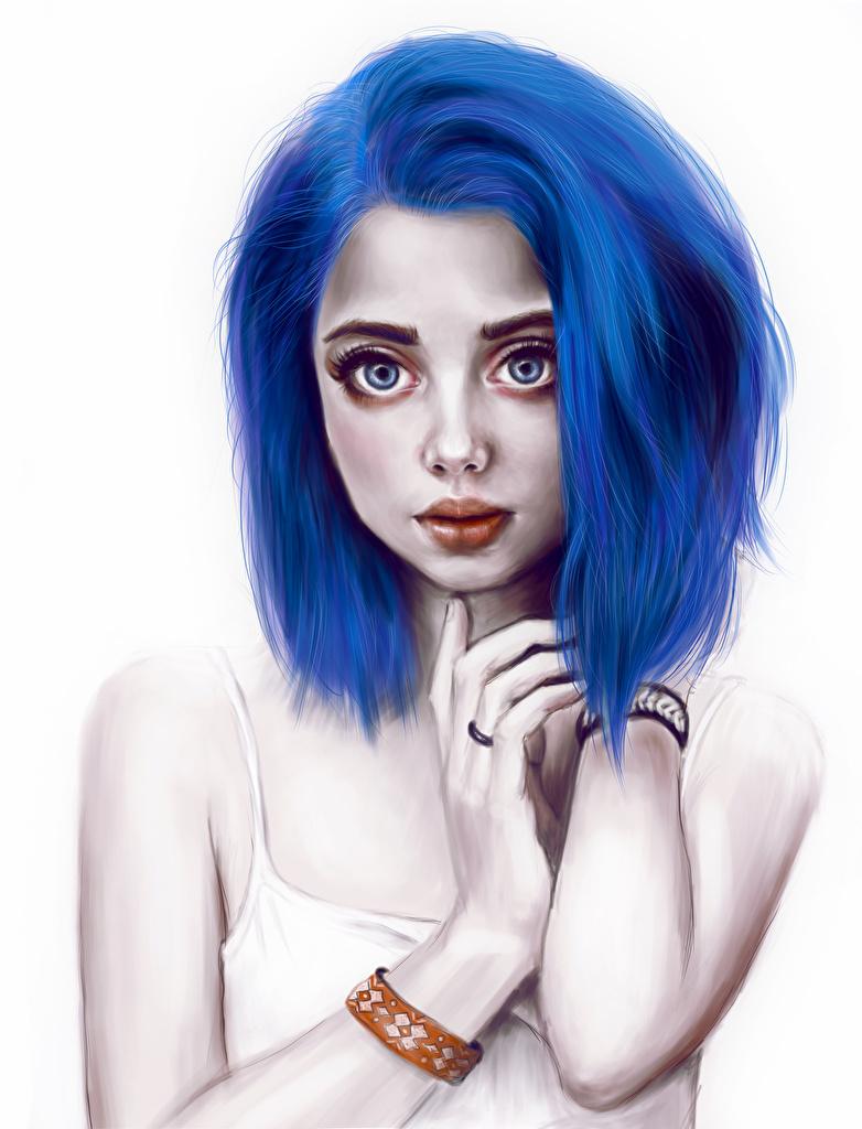 Fondos De Pantalla Dibujado Azul Pelo Chicas Descargar Imagenes