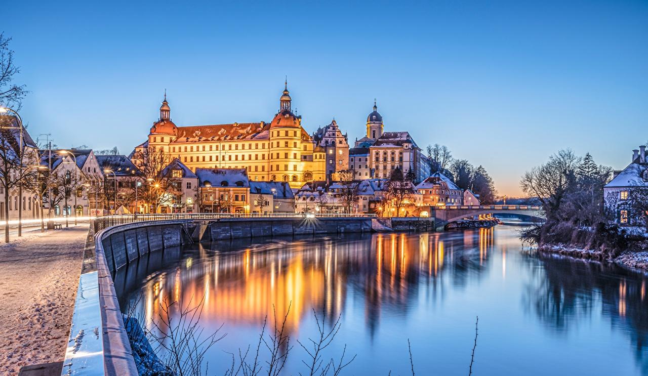 Wallpaper Bavaria Germany Neuburg castle river Waterfront Cities Building Castles Rivers Houses