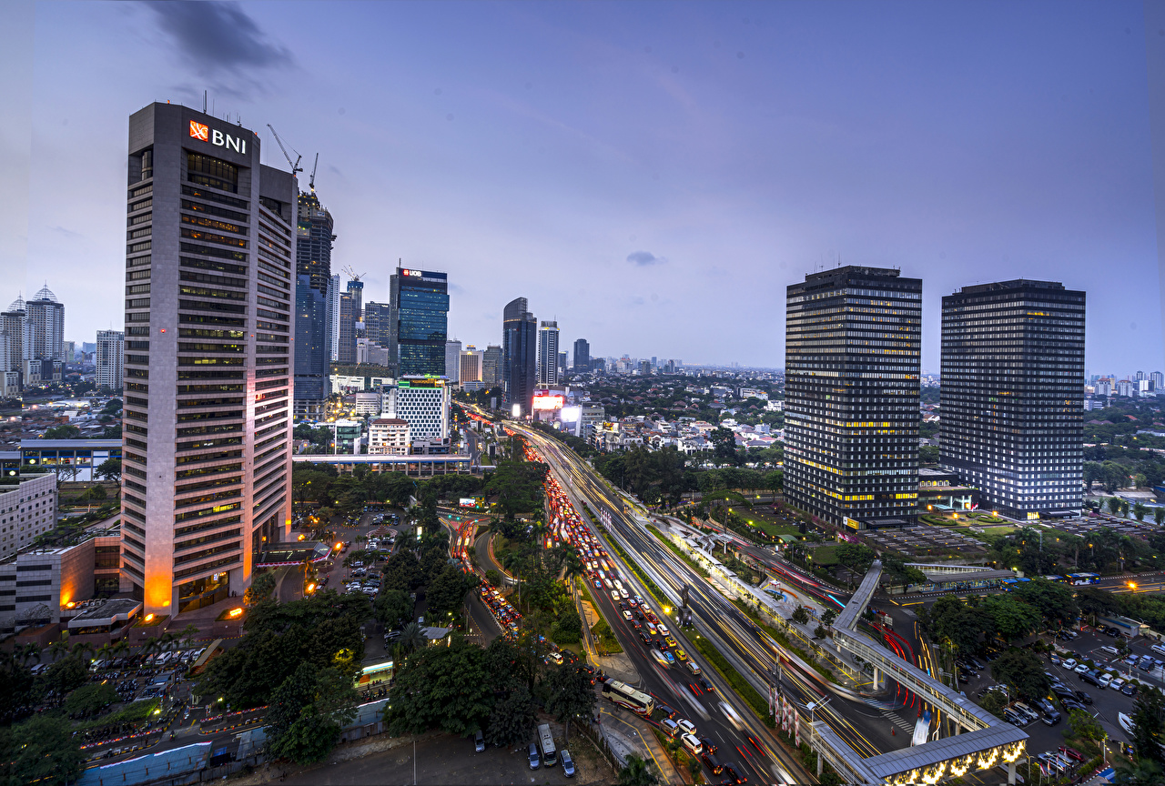 Photos Indonesia Jakarta Roads Evening Skyscrapers Cities Building Houses