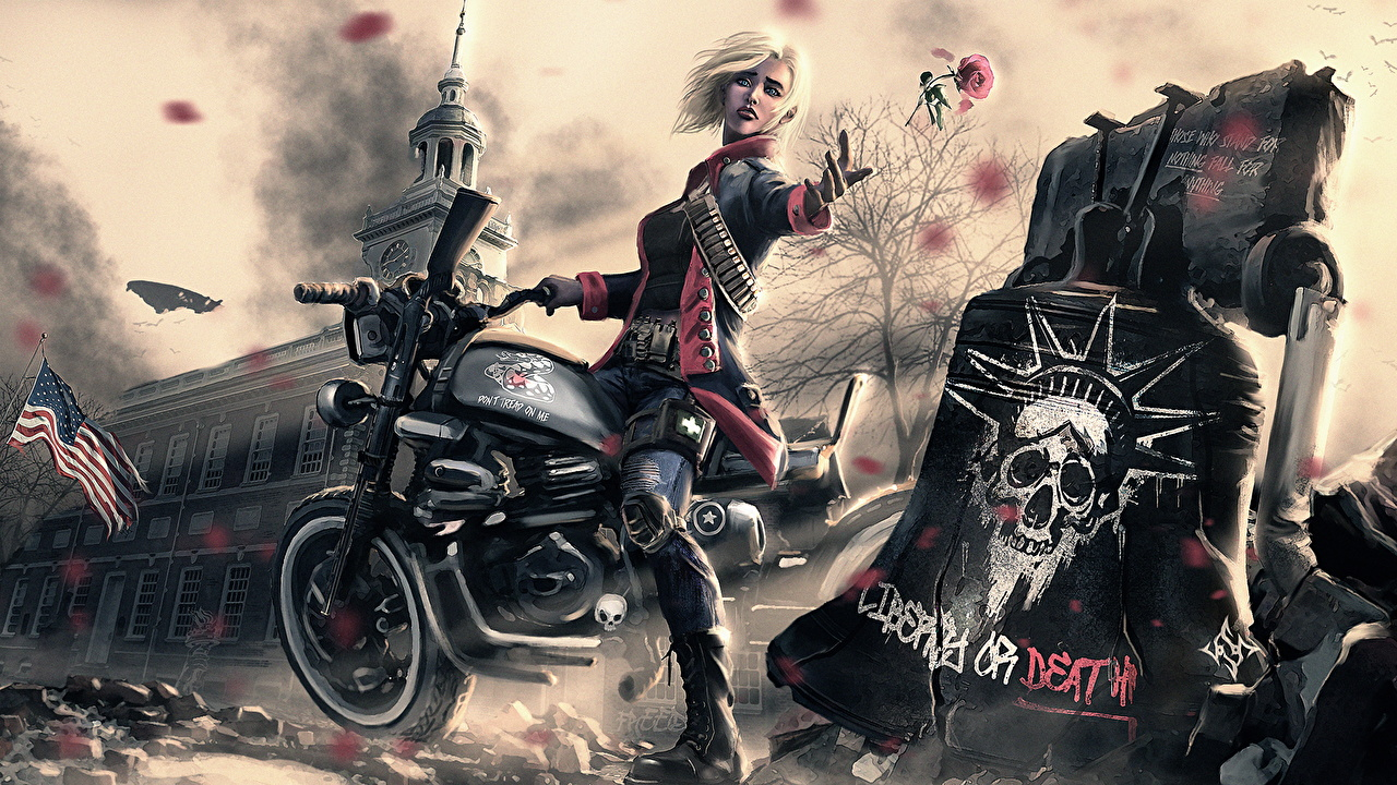 Hintergrundbilder Blondine Fantasy Mädchens Motorradfahrer Gezeichnet Blond Mädchen