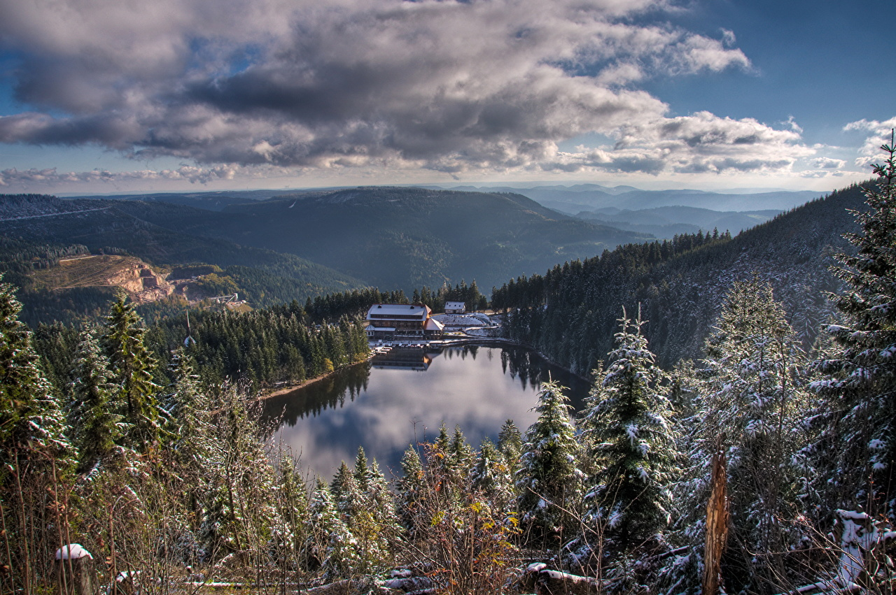 Images Germany Seebach Nature Mountains Lake forest Scenery Clouds mountain Forests landscape photography