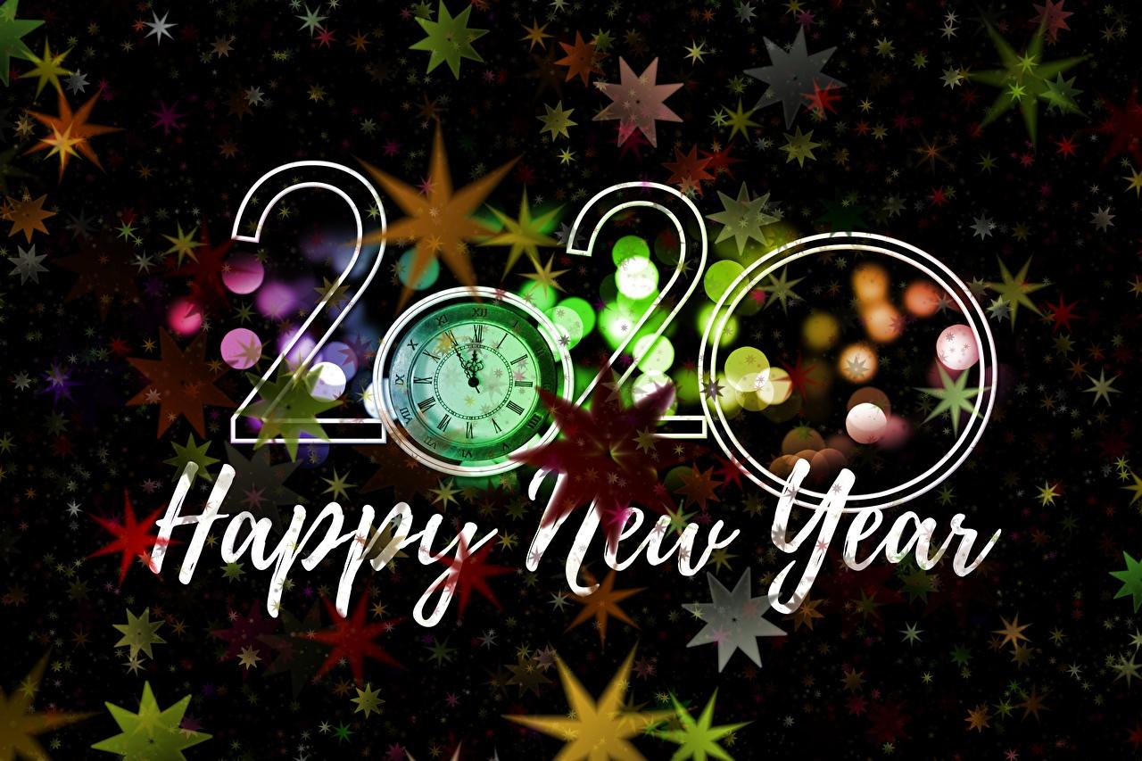 Fotos 2020 Neujahr Englisch Stern-Dekoration Uhr