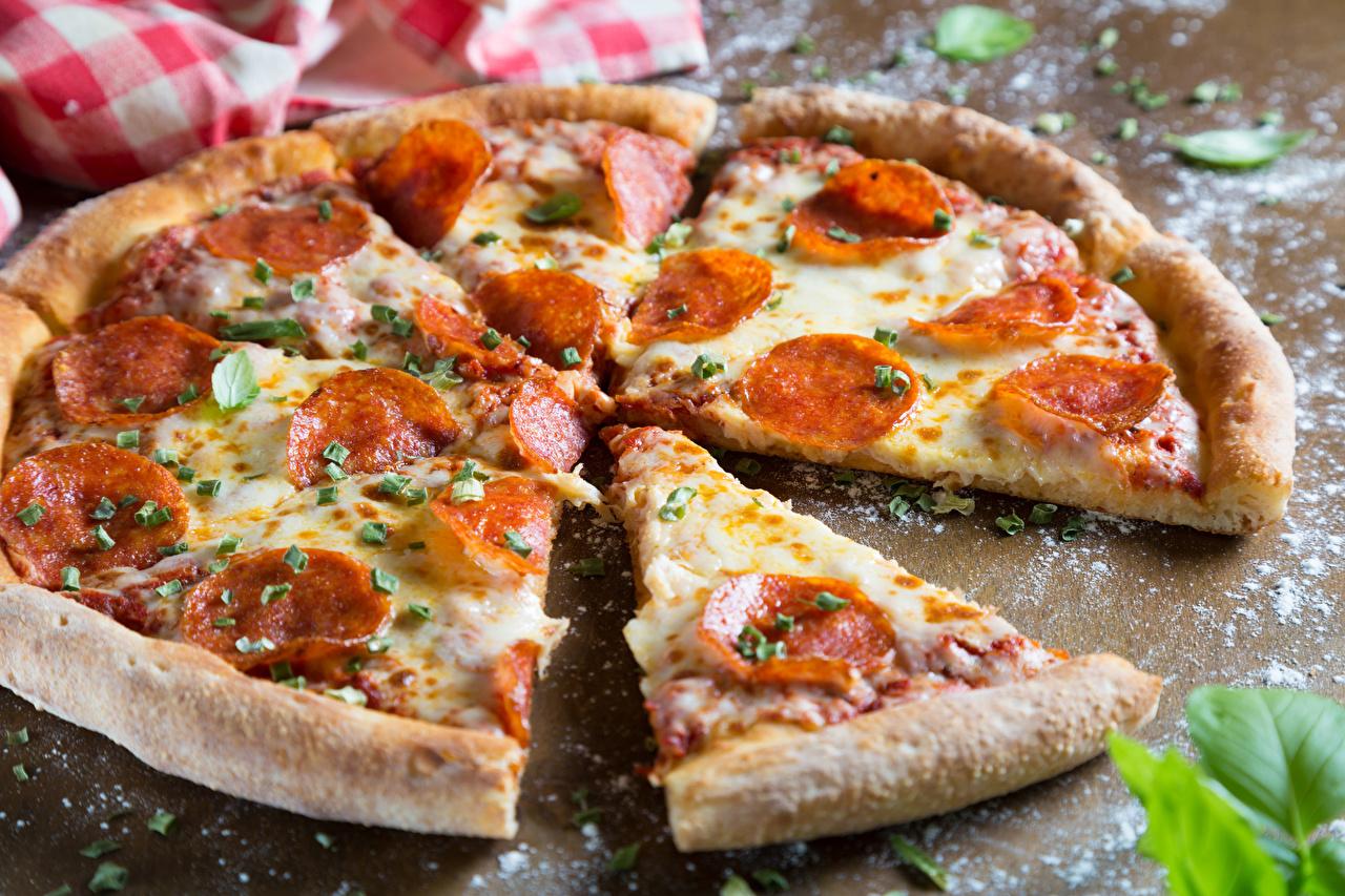 Wallpaper Pizza Sausage Piece Fast food Food Closeup pieces