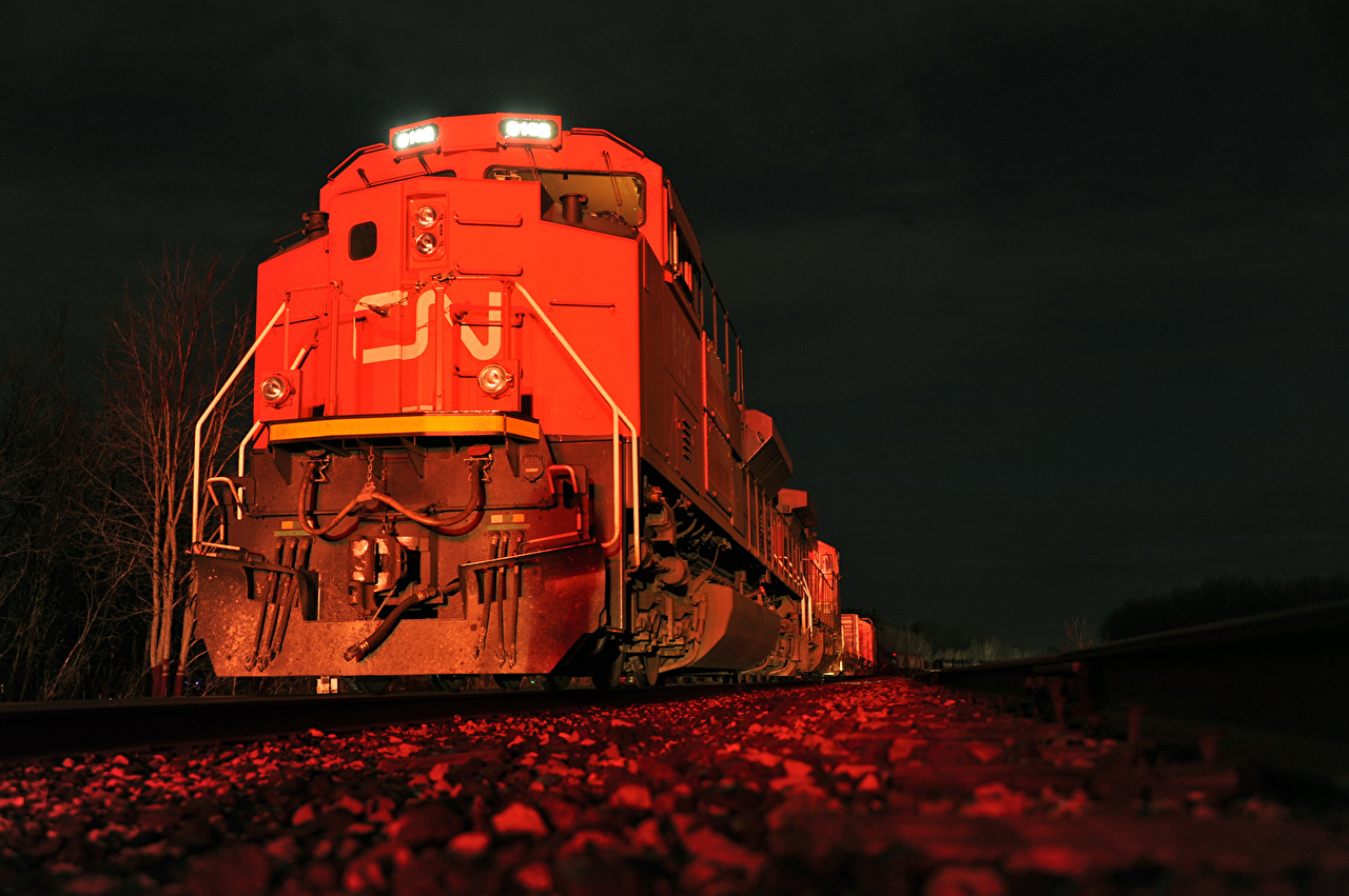 Images Locomotive Trains night time Night
