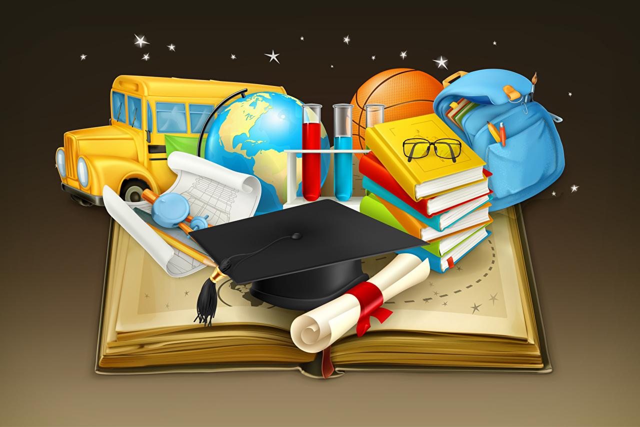 Pictures School Globe Book Handbag Glasses Vector Graphics Colored background purse books eyeglasses
