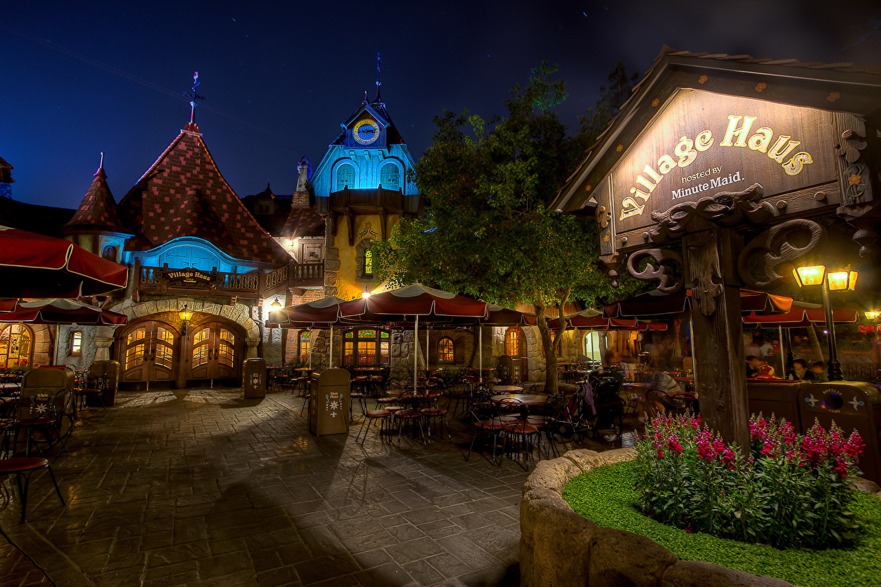 Desktop Wallpapers California Disneyland USA Cafe Street Night Cities night time