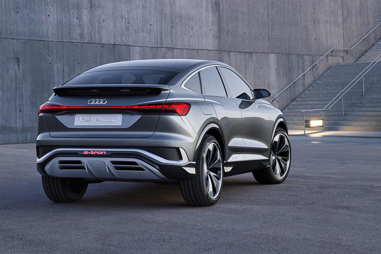 Images Audi CUV Q4 Sportback e-tron Concept, 2020 Cars Metallic Back view Crossover auto automobile