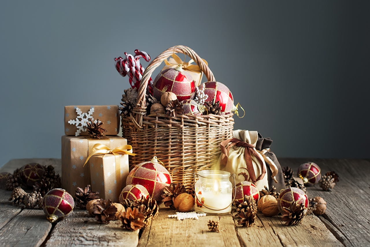 Wallpaper New year Gifts Wicker basket Balls Conifer cone Wood planks Christmas present Pine cone boards