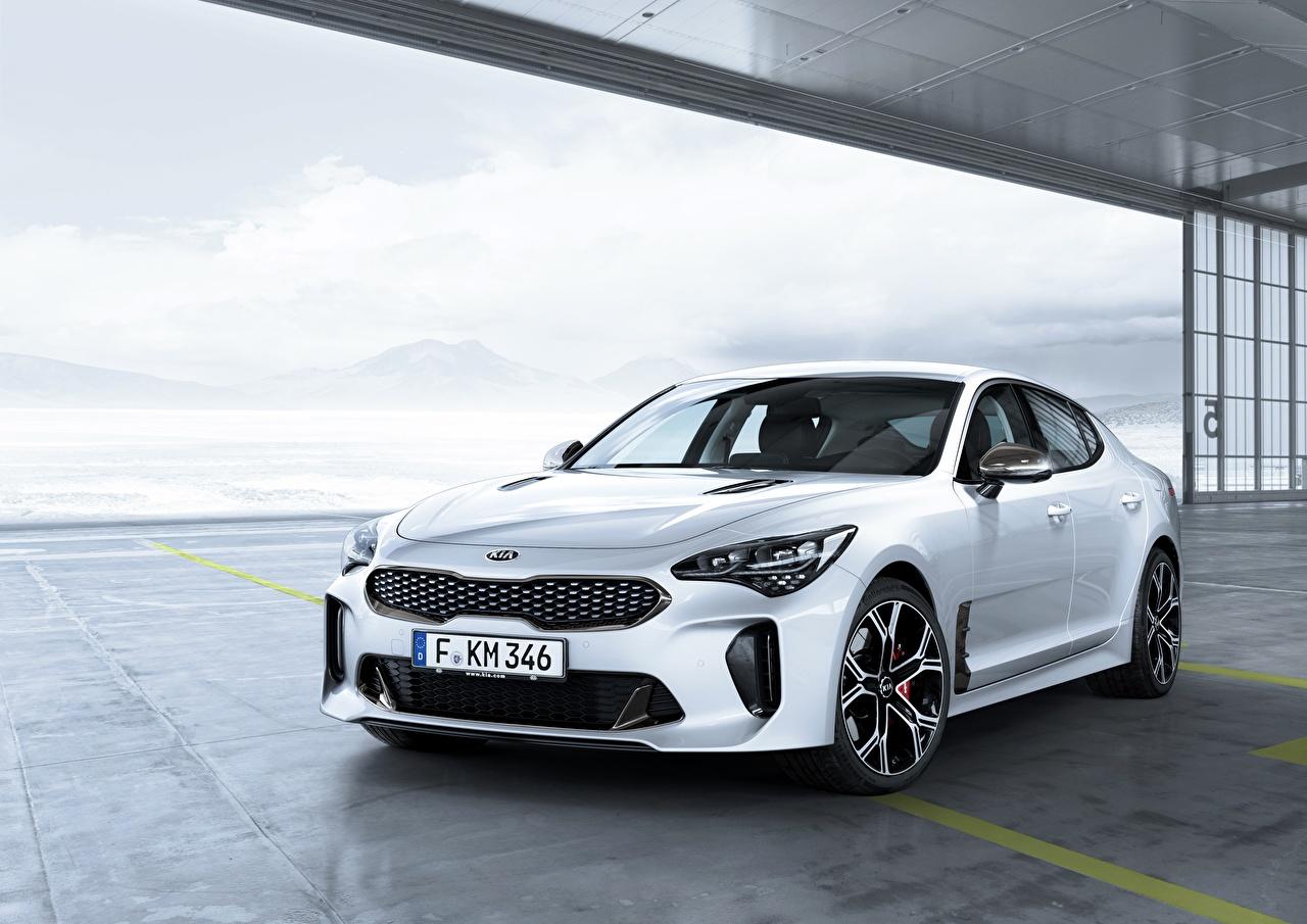 Image KIA Stinger GT White Cars Metallic auto automobile