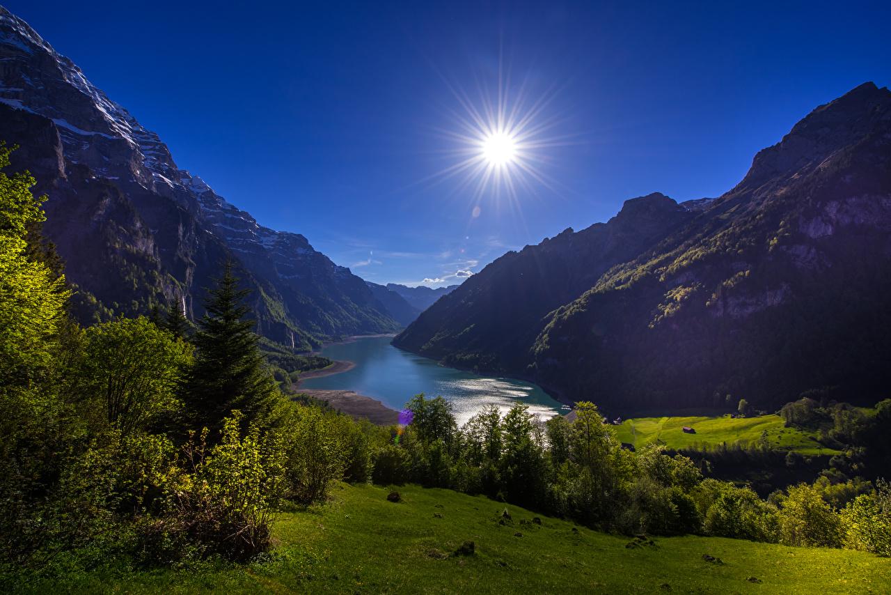 Hintergrundbilder Schweiz Lake Klontal Glarus Natur Sonne Gebirge See Landschaftsfotografie Strauch