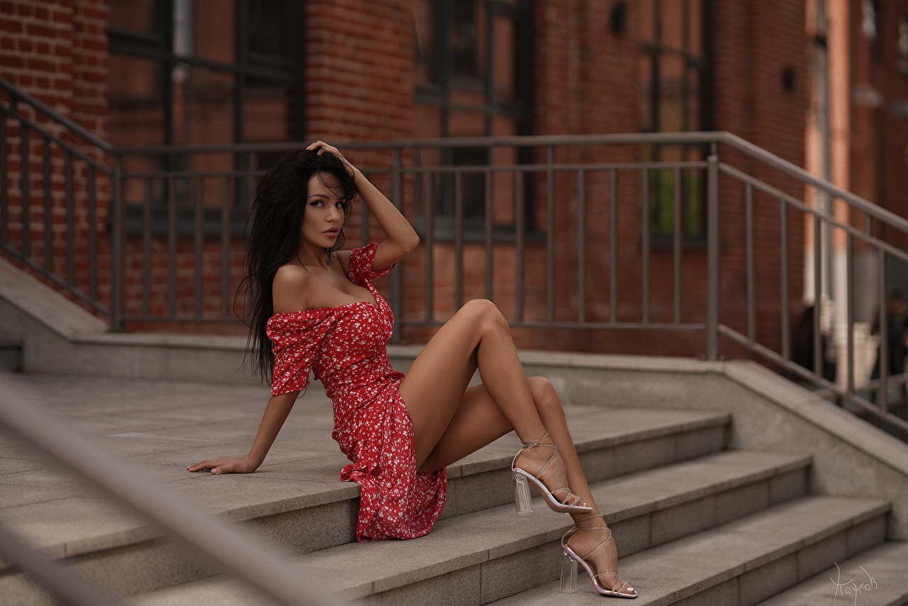 Image Model Andrey Popov, Lilya Volkova Pose Girls stairway Legs Sitting Modelling posing Stairs female staircase young woman sit