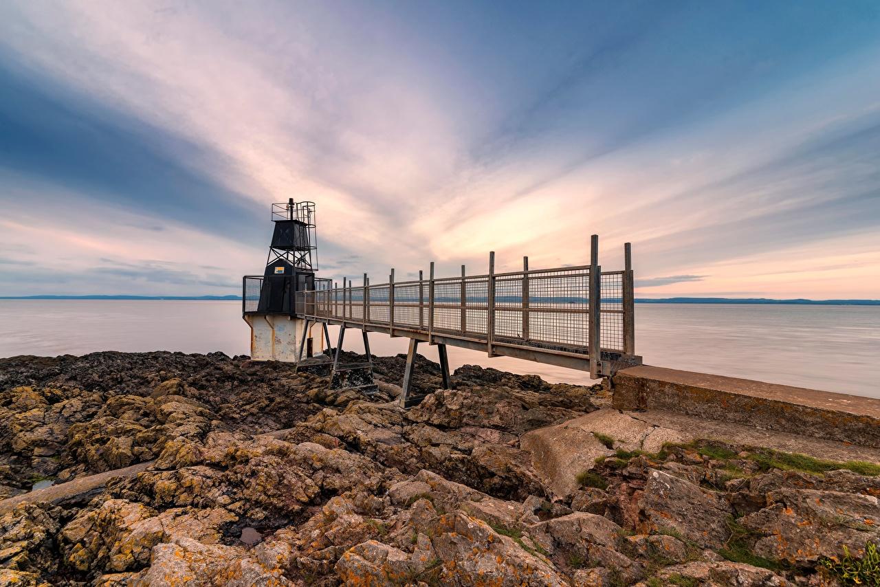 Bilder England Somerset, Battery Point Lighthouse Natur Leuchtturm Stein Küste Steine