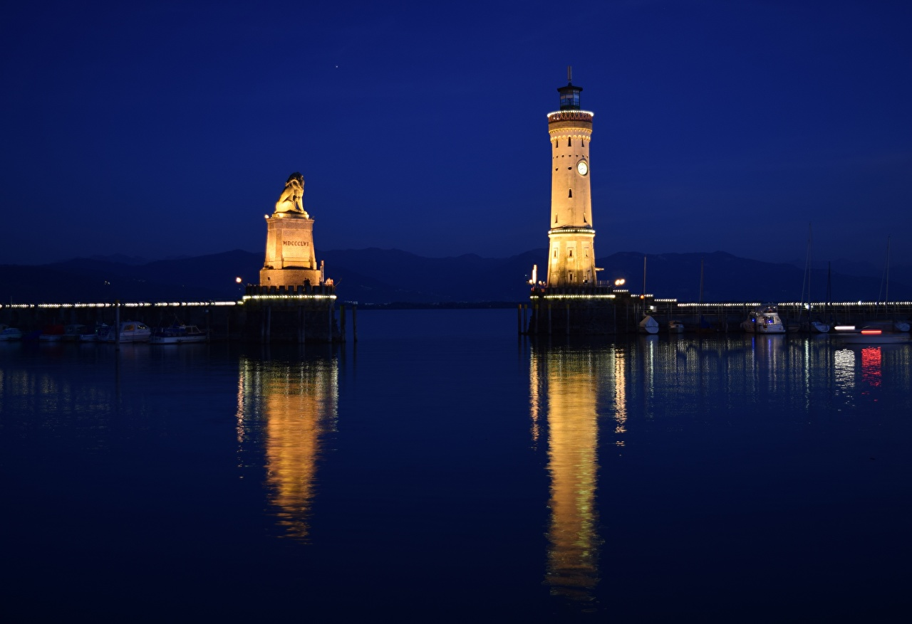 Pictures Germany Bodensee, Lindau Lighthouses Lake night time Cities Night