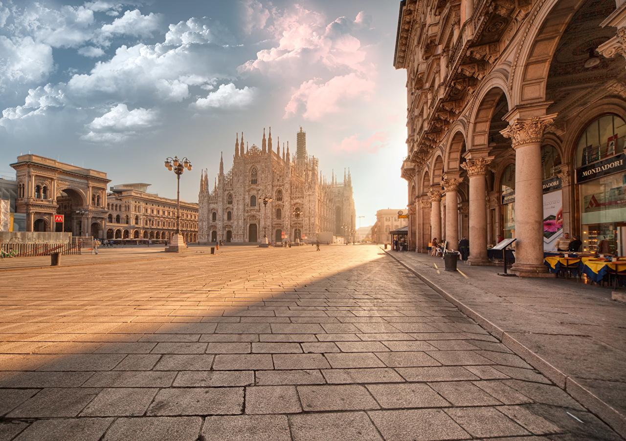 Photos Italy Town square Piazza del Duomo, Milan, Milan Cathedral sunrise and sunset Street lights Cities Sunrises and sunsets