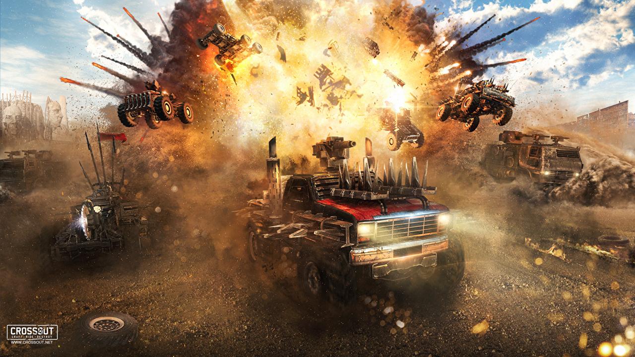 Foto's Crossout Explosie 3D graphics computerspel Techniek Fantasy 3D afbeelding 3D afbeeldingen videogames Computerspellen