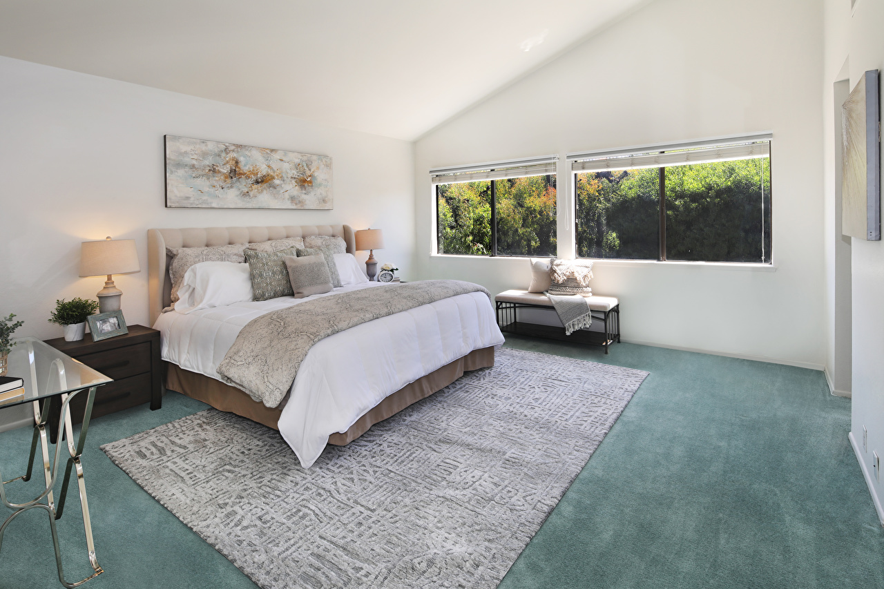 Picture Bedroom Interior Bed Rug Lamp Design Carpet