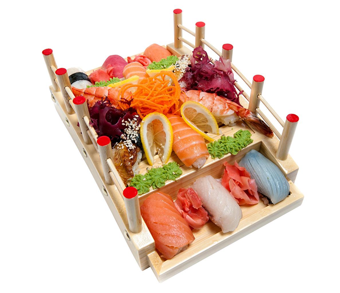 Fruto do mar Sushi Hortaliça Limão Fundo branco comida, limões Alimentos