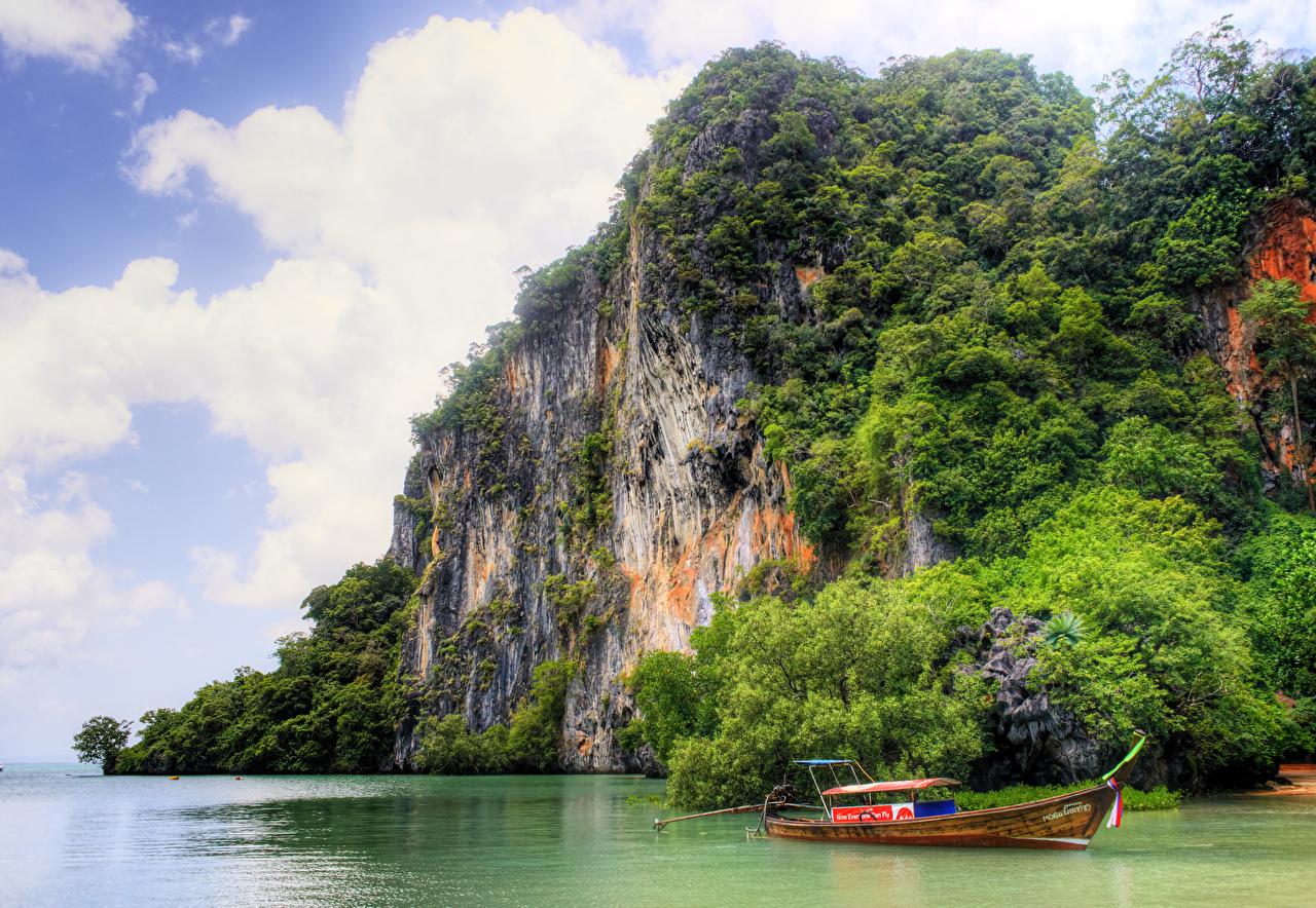 Foto Thailand Natur Felsen Tropen Boot Bucht Strauch
