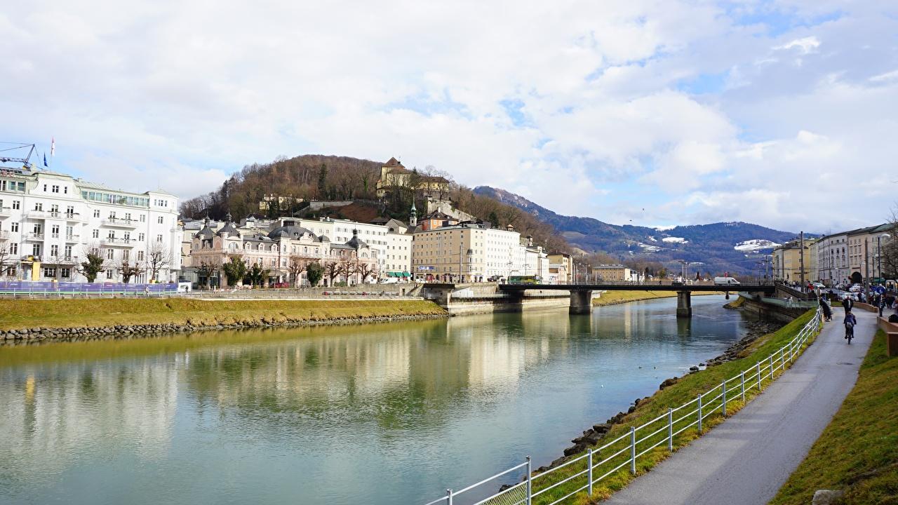 Desktop Hintergrundbilder Salzburg Österreich Brücke Fluss Städte Brücken Flusse