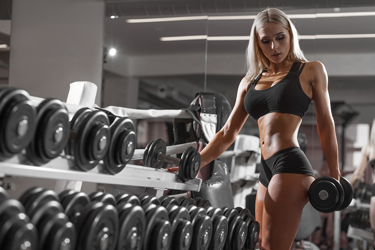 Pictures Blonde girl Fitness Dumbbells young woman Hands Belly Girls female dumbbell