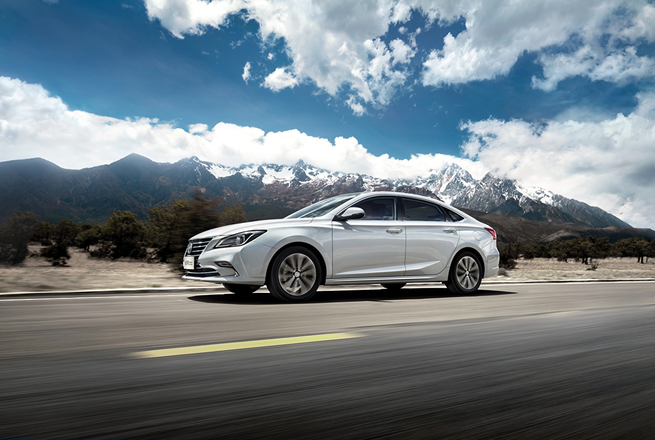 Image Changan Chinese White mountain Roads riding Cars Metallic Mountains moving Motion driving at speed auto automobile