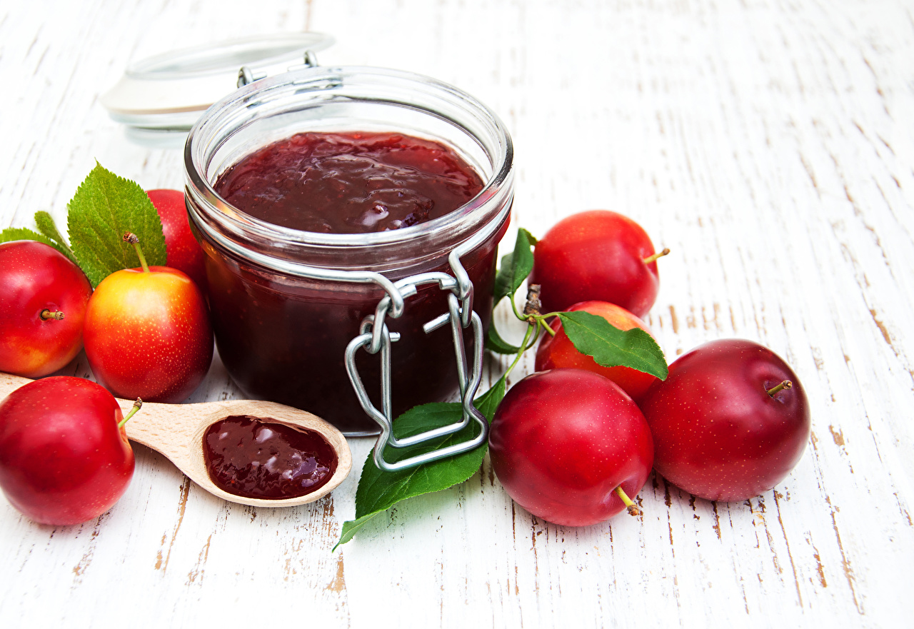Wallpaper Varenye Jar Plums Food Powidl Fruit preserves